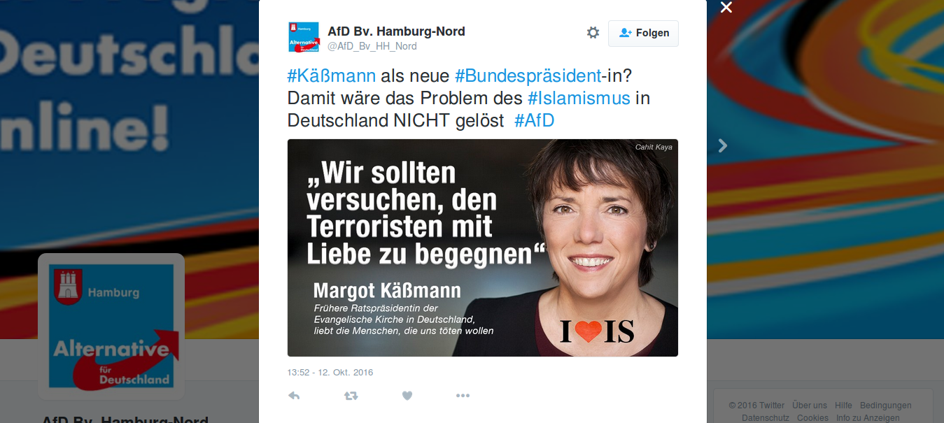 """Schriftzug auf Bild: """"Wir sollten versuchen, den Terroristen mit Liebe zu begegnen"""" - Margot Käßmann - Frühere Ratspräsidentin der Evangelischen Kirche in Deutschland, liebt die Menschen, die uns töten wollen."""