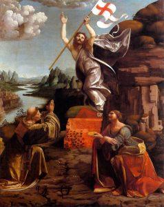Der auferstandene Christus mit der Siegesfahne